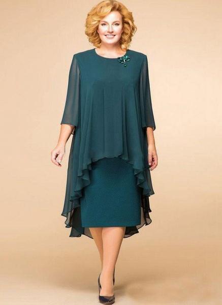 Dark Green Plus Size Floral Round Neckline Elegant Midi Shift Dress Plus Dress_1