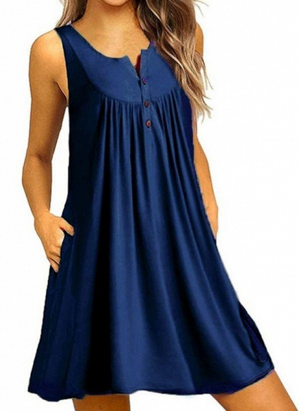 Royal Blue Plus Size Tunic Solid Round Neckline Casual Pockets Plus Dress_4