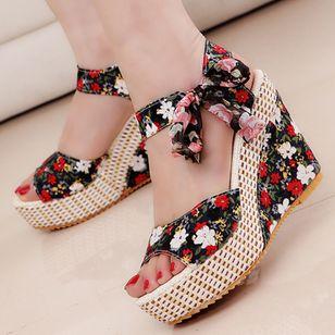 Women's Lace-up Flower Slingbacks Cloth Wedge Heel Sandals_4