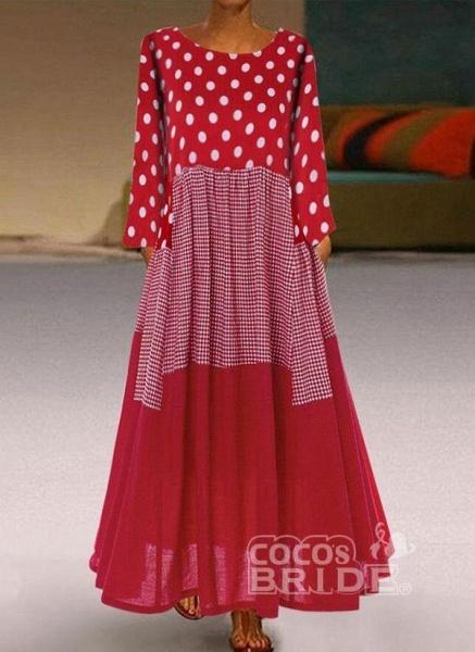 Plus Size Tunic Polka Dot Round Neckline Casual Maxi Plus Dress_3