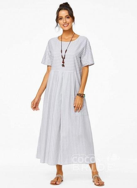 Plus Size Tunic Stripe Round Neckline Casual Pockets Plus Dress_5