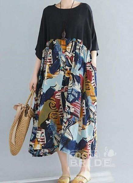 Black Plus Size Tunic Color Block Round Neckline Casual Pockets Plus Dress_3