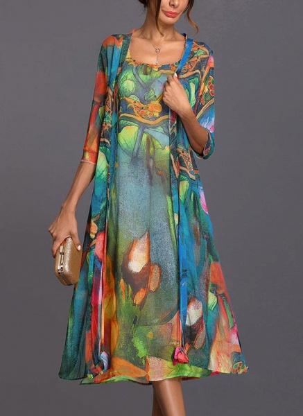 Arabian Wrap Tunic Round Neckline A-line Dress_6