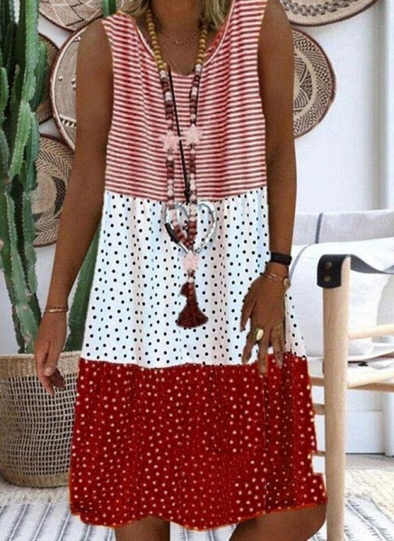 Red Plus Size Tunic Polka Dot V-Neckline Casual Knee-Length Plus Dress_1