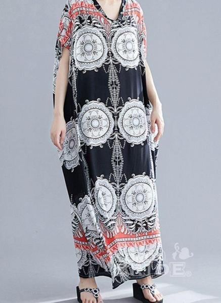 Plus Size Tunic Floral V-Neckline Casual Maxi Plus Dress_3