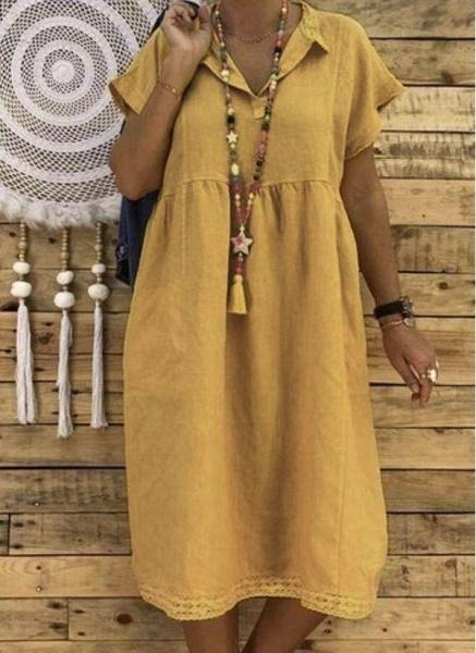Yellow Plus Size Tunic Solid Collar Casual Midi Plus Dress_1