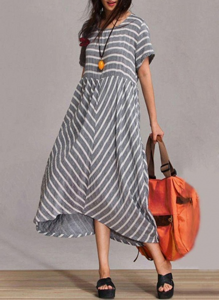 Gray Arabian Stripe Round Neckline Maxi A-line Dress_1