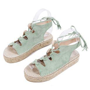 Women's Lace-up Slingbacks Cloth Wedge Heel Sandals_3