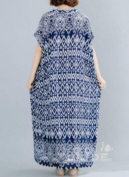 Dark Blue Plus Size Tunic Geometric V-Neckline Casual Maxi Plus Dress_4
