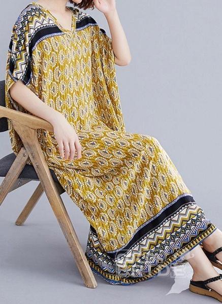 Yellow Plus Size Block V-Neckline Casual Maxi Plus Dress_2