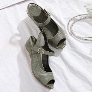 Women's Buckle Hollow-out Peep Toe Slingbacks Wedge Heel Sandals_2