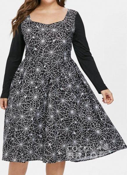 Black Plus Size Color Block Round Neckline Casual Ruffles Knee-Length Plus Dress_3