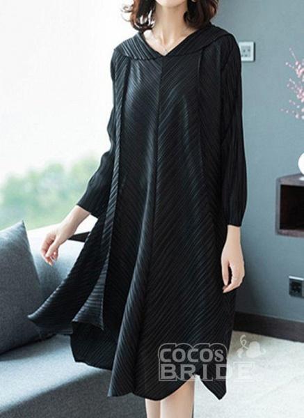 Dark Blue Plus Size Solid V-Neckline Casual Midi A-line Dress Plus Dress_4