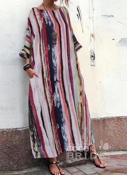 Multicolor Plus Size Tunic Color Block Round Neckline Casual Pockets Plus Dress_5