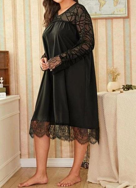 Black Plus Size Solid V-Neckline Casual Midi Shift Dress Plus Dress_1