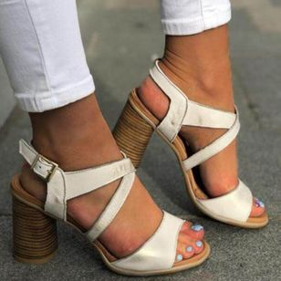 Women's Buckle Slingbacks Chunky Heel Sandals_4