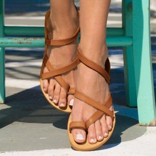 Women's Toe Ring Leatherette Flat Heel Sandals_1