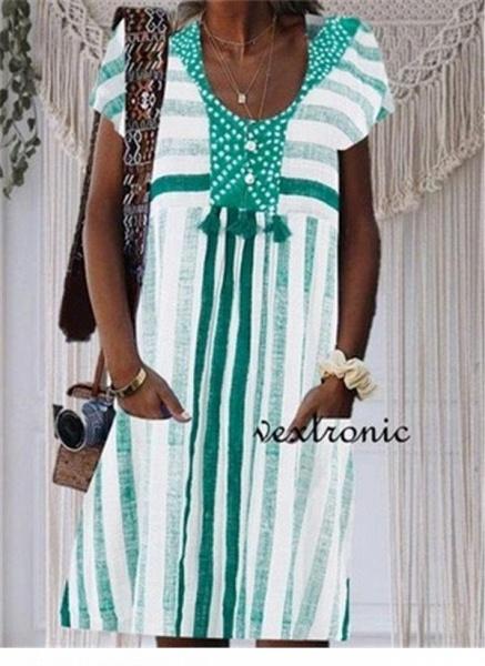 Green Plus Size Tunic Stripe V-Neckline Casual Pockets Plus Dress_1