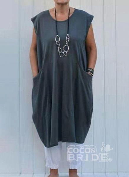 Plus Size Tunic Solid Round Neckline Casual Pockets Plus Dress_5