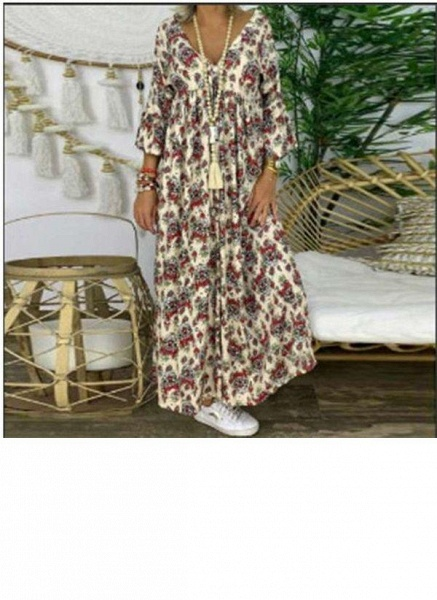 Black Plus Size Tunic Floral V-Neckline Casual Maxi Plus Dress_1