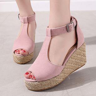 Women's Buckle Ankle Strap Peep Toe Nubuck Wedge Heel Sandals_1