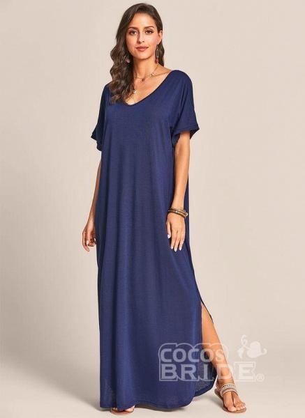 Royal Blue Plus Size Solid V-Neckline Casual Maxi Plus Dress_2