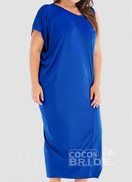 Khaki Plus Size Tunic Solid Round Neckline Casual Elegant Midi Plus Dress_7