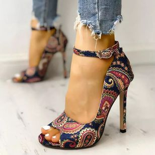 Women's Buckle Heels Cloth Stiletto Heel Sandals_1