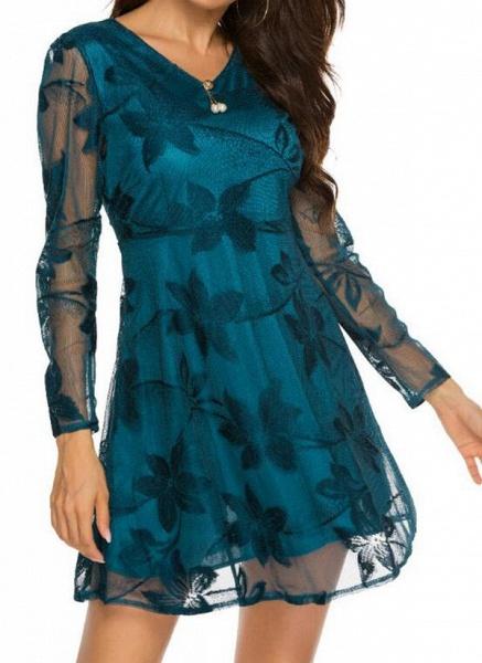 Casual Floral Skater V-Neckline X-line Dress_3