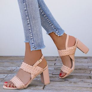 Women's Knit Buckle Heels Chunky Heel Sandals_2