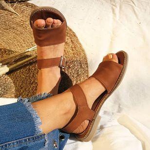 Women's Buckle Round Toe Low Heel Sandals_7