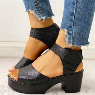 Women's Velcro Ankle Strap Slingbacks Chunky Heel Sandals_1