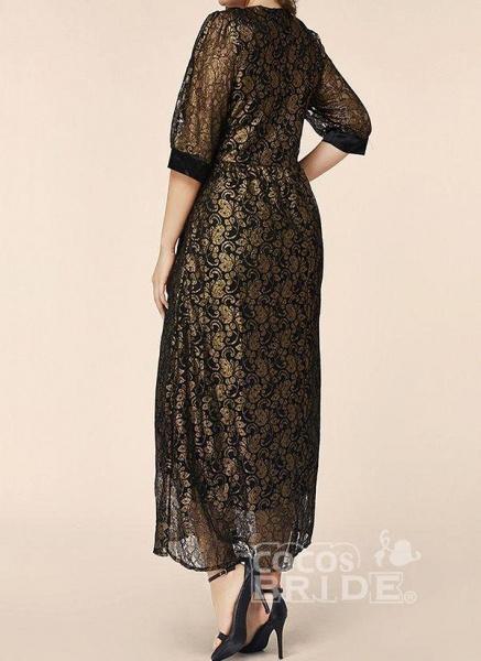 Black Plus Size Floral V-Neckline Elegant Lace Maxi Plus Dress_3