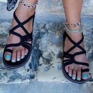 Women's Braided Strap Toe Ring Flat Heel Sandals_1