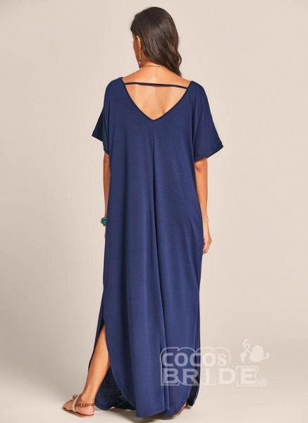 Royal Blue Plus Size Solid V-Neckline Casual Maxi Plus Dress_4