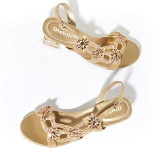 Women's Rhinestone Slingbacks Low Heel Sandals_1