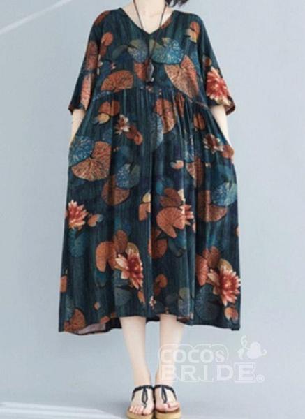 Dark Green Plus Size Tunic Floral V-Neckline Casual Midi Plus Dress_5