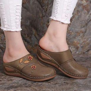 Women's Flower Closed Toe Wedge Heel Sandals_2
