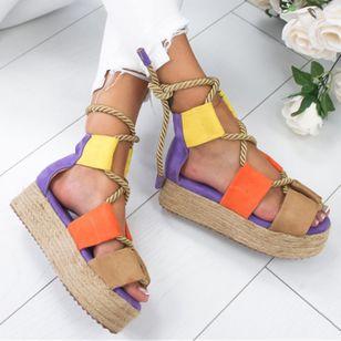 Women's Lace-up Round Toe Flat Heel Sandals Platforms_2