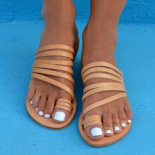 Women's Toe Ring Flat Heel Sandals_4