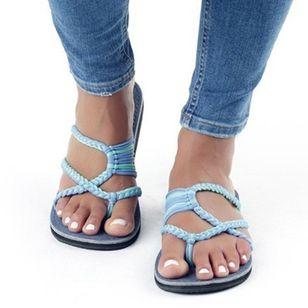 Women's Braided Strap Flip-Flops Flat Heel Sandals_1
