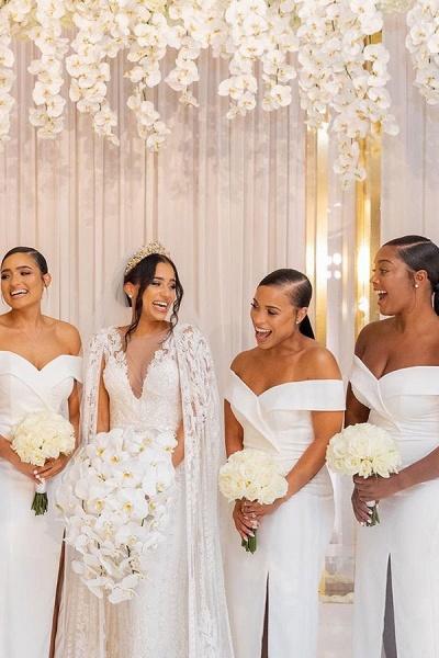 White Simple Off-the-shoulder V-neck Slit Bridesmaid Dresses_5
