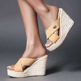 Women's Peep Toe Nubuck Wedge Heel Sandals_2