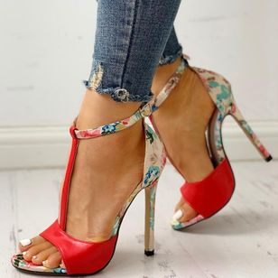 Women's Buckle Flower Heels Stiletto Heel Sandals_2