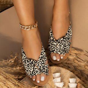Women's Leopard Flats Low Top Denim Cloth Flat Heel Sandals_3