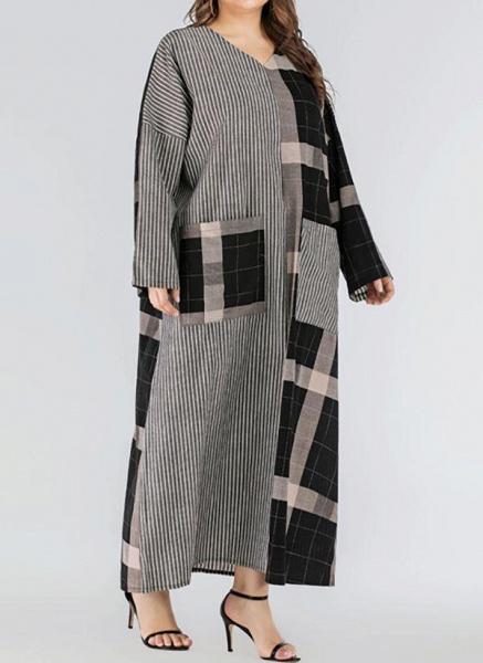 Black Plus Size Plaid V-Neckline Casual Pockets Maxi Plus Dress_1