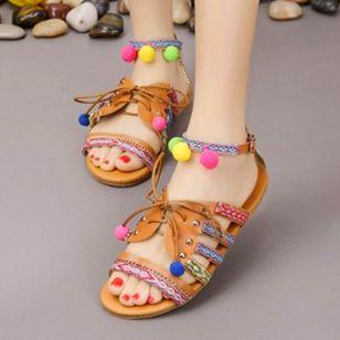 Women's Rivet Lace-up Flats Low Top Flat Heel Sandals_3