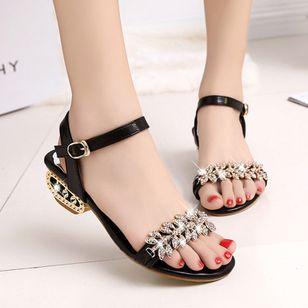 Women's Rhinestone Buckle Heels Low Heel Sandals_4