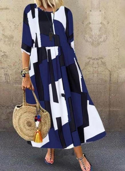 Dark Blue Plus Size Tunic Color Block Round Neckline Casual Maxi Plus Dress_3