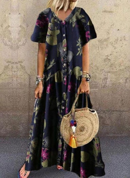 Dark Blue Plus Size Tunic Floral V-Neckline Casual Maxi Plus Dress_1